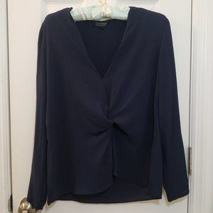 Topshop Knot Front Blue Long Sleeve Top Twist